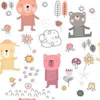 schattige baby beer cartoon - naadloos patroon vector