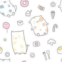 schattige baby varken en snoep cartoon - naadloos patroon vector