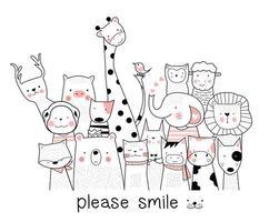 schattige baby dieren glimlachen naar de camera
