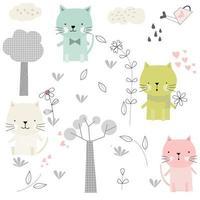 schattige baby kat cartoon en bloemen-naadloze patroon vector