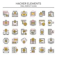 Set duotone dunne lijn hacker-elementen