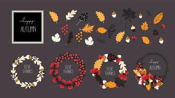 Herfst en herfst vectorelement voor verkoop en banner ontwerpsjabloon vector