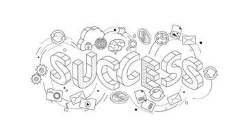 Isometrisch concept met dunne lijn letters spelling succes vector