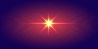 Explosie van halftoonpatroon van rood licht radiaal puntenpatroon op donkerblauwe gradiëntachtergrond. Technologie digitaal concept futuristische neonverlichting.