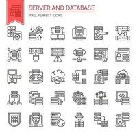 Set van zwarte en witte dunne lijn server- en database-iconen