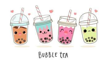 Leuke bubble melk thee cartoon tekenset vector