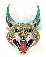 Gevormde caracal lynx op aquarel achtergrond vector