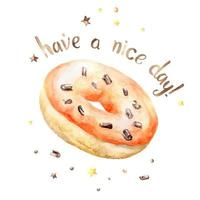 Aquarel oranje donut met Have a Nice Day tekst