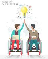 Twee mannen in rolstoelen geven een high five met gloeilamp erboven vector