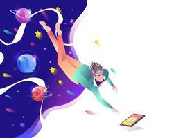 Man valt door de ruimte tot tablet vector