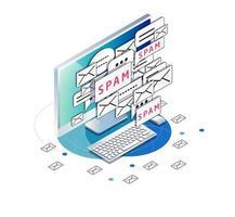 Isometrische computer met spam en ongewenste e-mail envelop pictogrammen drukke scherm vector