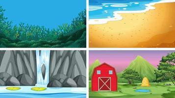 Set van verschillende aard achtergronden vector