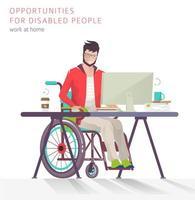 Man met een handicap werkt op een computer vector