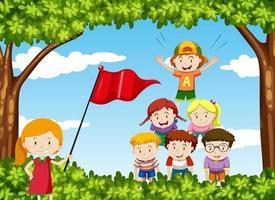 Kinderen spelen menselijke piramide in het park vector