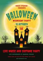 Halloween-feestaffiche met spookhuis