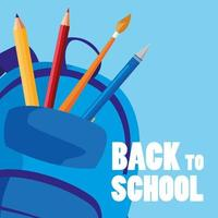 terug naar schooltas met benodigdheden vector