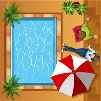 Bovenaanzicht van mensen zitten bij het zwembad