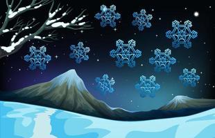 Sneeuwvlokken vallen op de grond