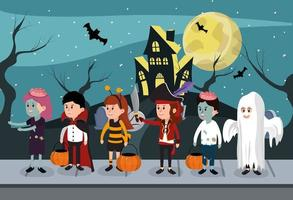Kinderen in Halloween-kostuums vector