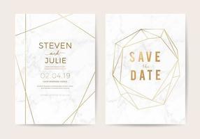 Luxe bruiloft uitnodigen kaarten met witte marmeren textuur en gouden rand vector