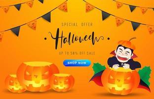 Halloween-banner met zwarte en oranje vlaggen en een vampier vector