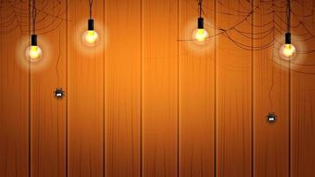 Halloween-banner of achtergrond met gloeilampen en spinnenwebben met hangende spinnen op houten muur