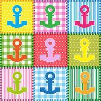 Set van patchwork met kleurrijke ankers