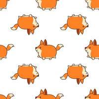 Dikke vos wandelen cartoon naadloze patroon