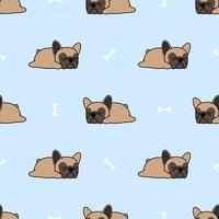 Leuk Frans buldogpuppy die naadloos patroon slapen vector