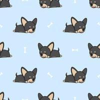 Leuke chihuahuahond die naadloos patroon slapen vector