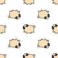 Leuk dik pug hond het lopen beeldverhaal naadloos patroon