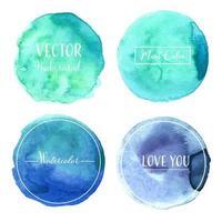 Mint Pastel aquarel cirkel Set vector