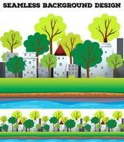 Naadloze gebouwen en bomen langs de rivier