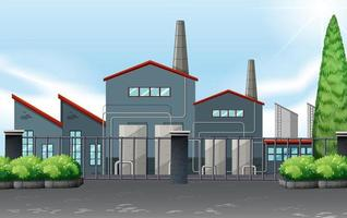 Fabrieksgebouw achter metalen hek vector