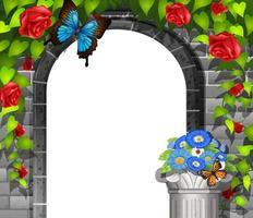 Scène met deuropening in bakstenen muur en rozen