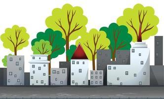 Gebouwen en bomen op de weg