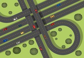 Luchtfoto scène met wegen en auto's in de buurt van gras vector