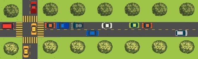 Bovenaanzicht scène met auto's op de weg vector