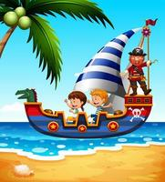 Kinderen op schip met piraat vector