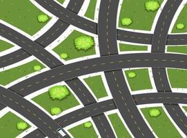 Luchtfoto scène met wegen en veld vector