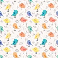 Leuke vogel en takjes naadloze patroonachtergrond