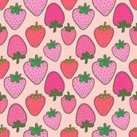 Roze Aardbei Naadloze Achtergrond vector