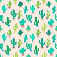 Leuke Ingemaakte Cactussen op Roze Naadloze Patroonachtergrond vector