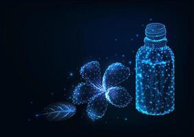 Futuristisch ontwerp met bloemen en etherische oliën vector