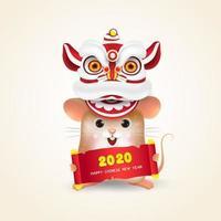 Little Rat or Mouse voert Chinees Nieuwjaar Lion Dance uit vector