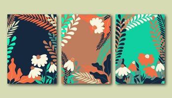 Set zomerposters met platte kamillebloemen, graslandplanten en bladeren vector