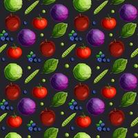 Naadloos patroon met feshgroenten, fruit, bessen en groene bladeren vector