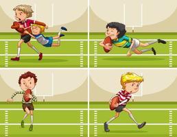 Jongens spelen rugby op het veld vector