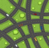 Luchtfoto van auto's op wegen vector