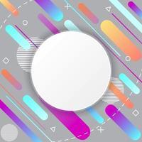 Memphis-patroon op grijze achtergrond met cirkelsticker vector